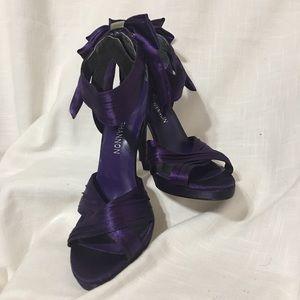 Michael Shannon Purple Satin Platform Heels Sz 6M